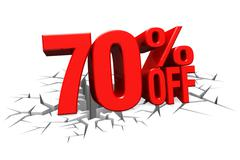 3D render red text 70 percent off on white crack hole floor. Stock Illustration