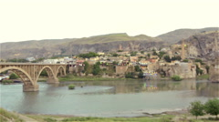 Remains of ancient buildings in Hasankeyf, Turkey Stock Footage