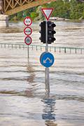 Flooded street n Budapest with traffic sign - stock photo