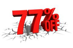 3D render red text 77 percent off on white crack hole floor. - stock illustration