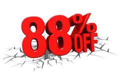 3D render red text 88 percent off on white crack hole floor. - stock illustration