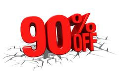 3D render red text 90 percent off on white crack hole floor. - stock illustration