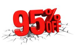 3D render red text 95 percent off on white crack hole floor. - stock illustration