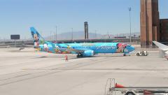 Disneyland, Alaska Airlines, McCarran international airport, Las Vegas.(766cut2) Stock Footage