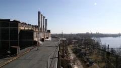 View of industrial buildings Stock Footage
