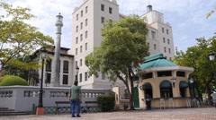 OLD MAN LOOKING AROUND at Plaza Darcenas in Old San Juan Stock Footage