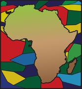 Africa Map On Stained Glass - stock illustration