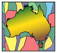 Australia Map Stained Glass - stock illustration