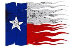 Wavy Texas Flag Grunged Piirros