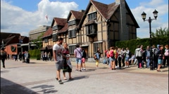Unidentified  tourists  near house where William Shakespeare was born - stock footage
