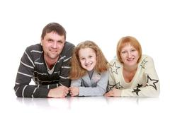 Happy young family mom dad and daughter teen , close-up Stock Photos