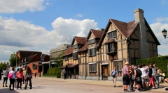 Stock Video Footage of Unidentified  tourists  near house where William Shakespeare was born