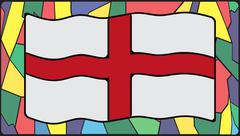 England Flag On Stained Glass - stock illustration
