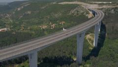 Aerial - Flight next to the viaduct Stock Footage