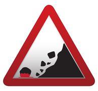 Falling Rocks Bloody Road sign Stock Illustration
