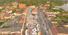 Aerial view of town. Stock Footage