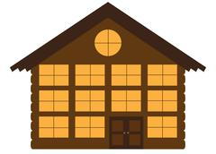 Log Chalet Hotel Stock Illustration