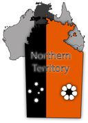 Northern Territory Map And Flag - stock illustration