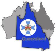Stock Illustration of Queensland Territory And Flag