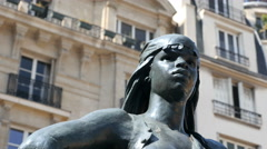 Sculpture of African in Paris, France Stock Footage