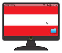Austrian Computer Screen With On Button - stock illustration
