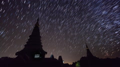 Star Trails Over King and Queen Pagoda Of Doi Inthanon Chiang Mai, Thailand Stock Footage