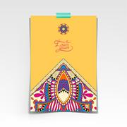 yellow decorative sheet of paper with oriental floral design - stock illustration