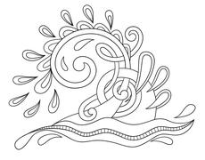 black white decorative aquatic wave with sparks and drops - stock illustration