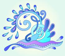 decorative aquatic blue wave with sparks and drops, water design - stock illustration