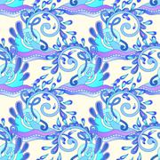 seamless decorative aquatic blue wave with sparks and drops back - stock illustration