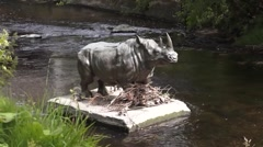 Rhino statue in a river Stock Footage