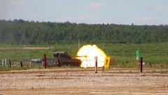 """The 2S25 """"Sprut-SD"""", russian self-propelled tank destroyer firing. - stock footage"""