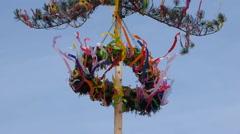 Maypole in wind Stock Footage