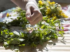 Woman Making a Swedish Midsummer Head Creation - stock photo