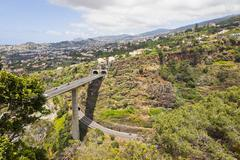 Highway roads on Madeira island, Portugal Stock Photos