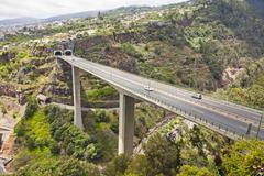Highway roads on Madeira island, Portugal - stock photo