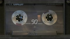 Compact cassete in tape recorder Stock Footage