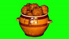 Stock Video Footage of 4k meatballs with seasoning in ceramic pot