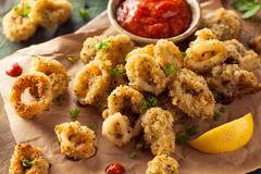 Homemade Breaded Fried Calamari - stock photo