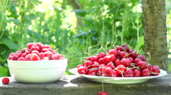 Stock Video Footage of Raspberries And Cherries On A Rustic Bench