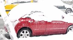 Car stuck under snow, snowy day Stock Footage