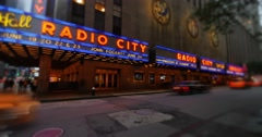 Night Radio City Music Hall Time Lapse Stock Footage