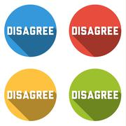 Collection of 4 isolated flat buttons for DISAGREE - stock illustration