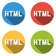 Collection of 4 isolated flat buttons for HTML (HyperText Markup Language) - stock illustration