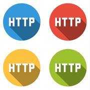 Collection of 4 isolated flat buttons for HTTP (Hypertext Transfer Protocol) - stock illustration