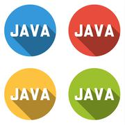 Collection of 4 isolated flat buttons for JAVA (computer programming language Stock Illustration