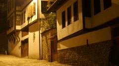 Night View of Traditional Ottoman Anatolian Village, Safranbolu, Turkey - stock footage