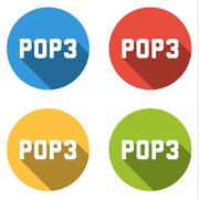 Collection of 4 isolated flat buttons for POP3 (Post Office Protocol) - stock illustration