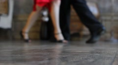 Man and woman dancing in vintage hall, feet only, defocused - stock footage