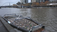 Trash collected from urban river Stock Footage